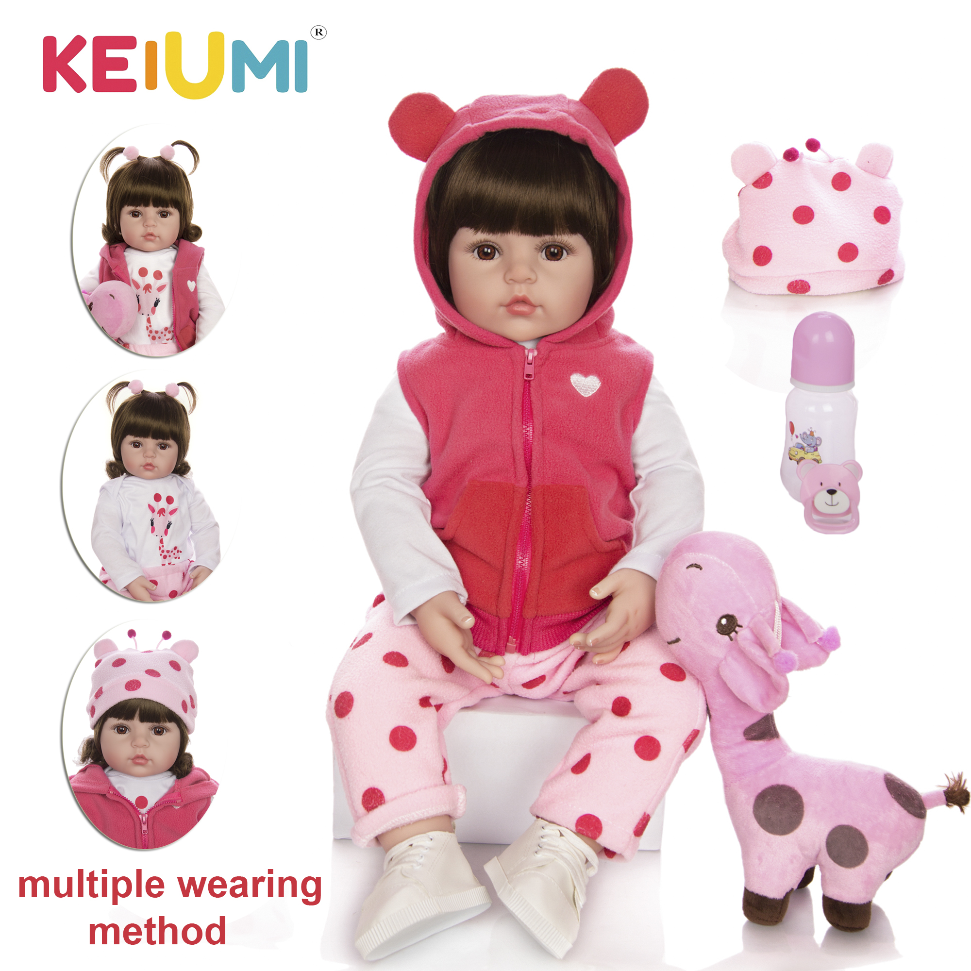 KEIUMI Baby Reborn Real Menina Soft Silicone Reborn Baby Dolls Birthday Gifts Fashion Stuffed Doll Toys