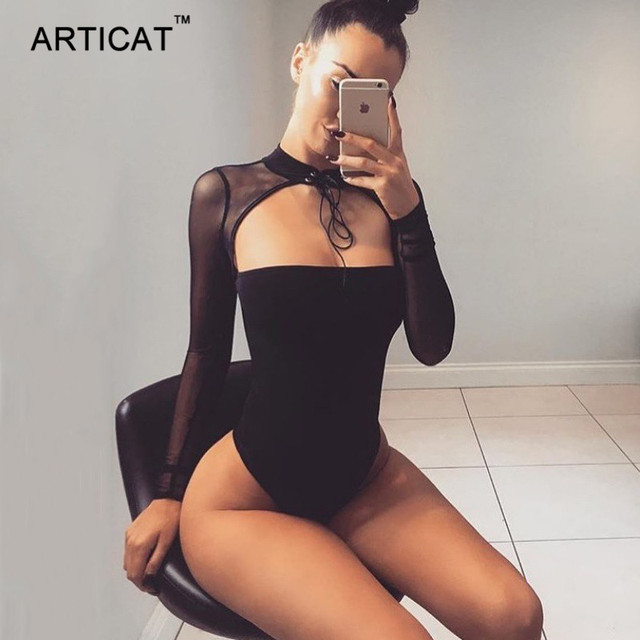 Articat Choker Strapless Sexy Bodysuit Women Mesh Long Sleeve Bandage  Bodycon Top Rompers Casual Party Jumpsuits cc672f05f