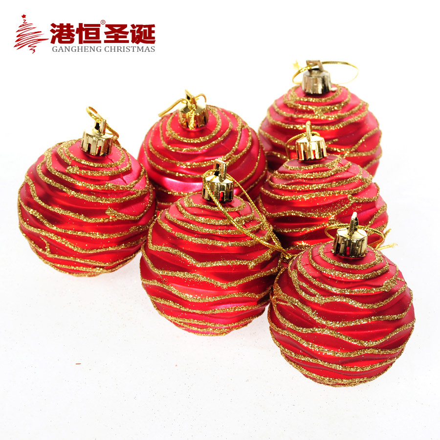 Yearly christmas ornaments - 6pcs Matt Christmas Tree Hanging Balls Diameter 6cm Rhombus Lines Decorations Ball Xmas New Year Home