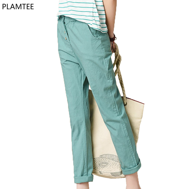 Hot Sale 2017 Cotton/Linen Casual Button Fly Women's Pants Pure Slim Ankle Length Female Trousers New Spring Summer Leisure Pant