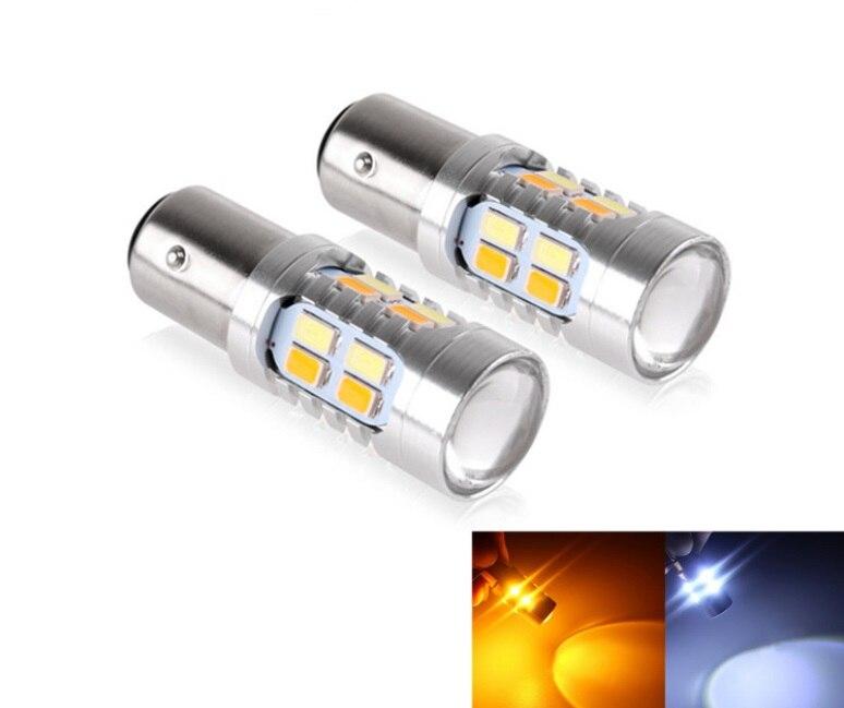 2 X Белый Янтарь двойной цвет 1157 P21/5 Вт BAY15D S25 T20 7443 T25 3157 20smd 5730 высокое мощность светодиодный тормозной лампа ...