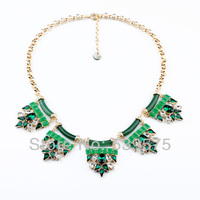 Free Setting Fashion Chunky Green Statement Necklace