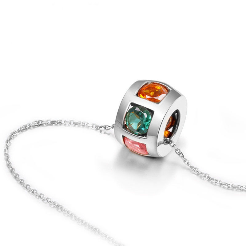 Colorful Crystal Elegant Circle Luxury 925 Sterling Silver Pendant