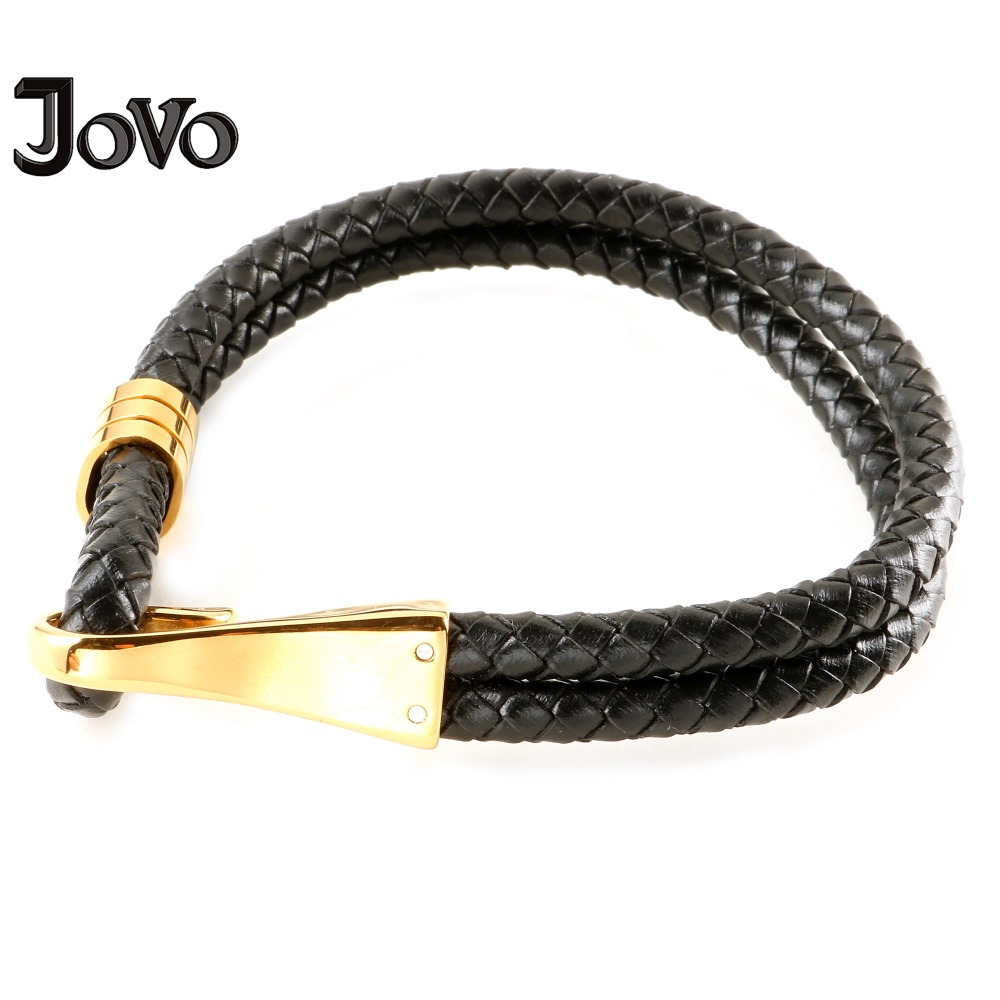 New Punk Style Men Cuff Bracelets Black Braided Leather Bracelet with Stainless Steel Cuff for Male Personalize Jewelry
