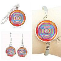 Fashion Om Necklace Set For Women Indian Mandala Bracelet Silver Plated Bangle Yoga Jewelry Set Sacred