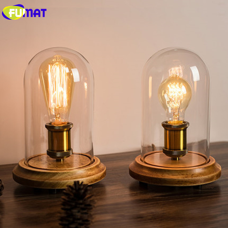 FUMAT Vintage Dimmer Table Lamp Loft Solid Wood Desk Lamp with Glass Shade American Country Bedrom Bedside Light Cafe Home Decor fumat stained glass table lamp high quality goddess lamp art collect creative home docor table lamp living room light fixtures