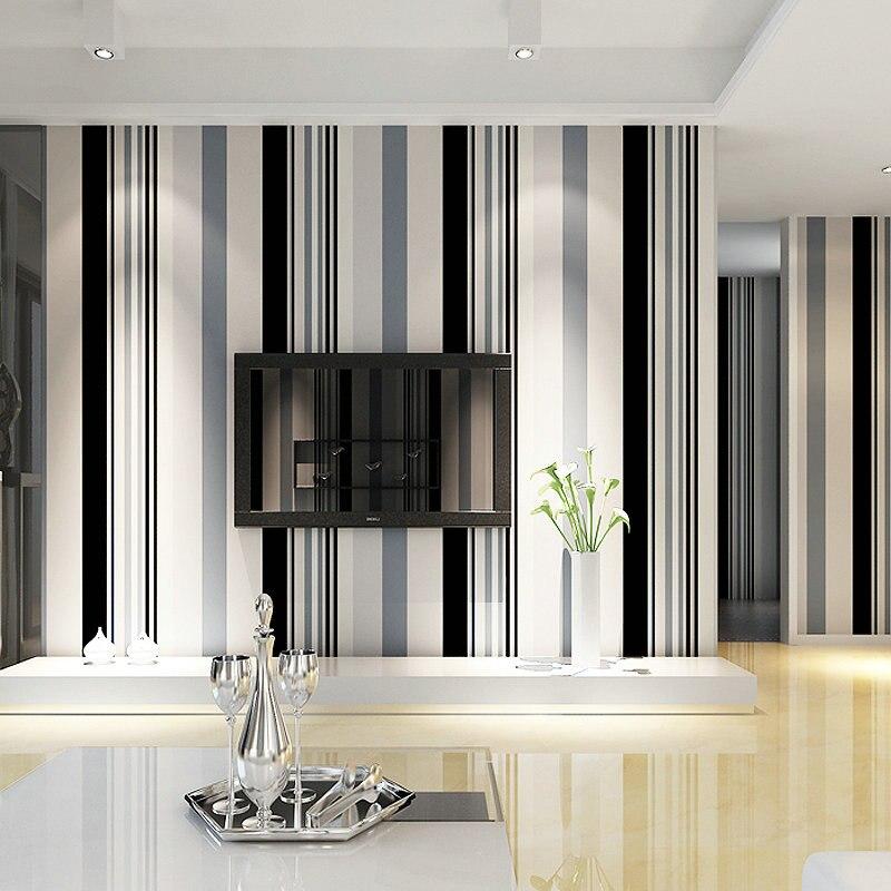 Black White Stripe Non-woven Wallpaper Roll Living Room Sofa TV Background Wallpaper Wall Papers Home Decor Modern Papel Pintado стоимость