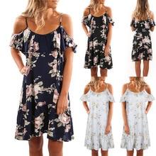 2019 Womens Summer Popular Style Print Dresses Sexy Club Casual Vintage Beach Sun Dress