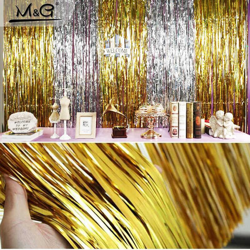 ELOMAN Folie Klatergoud Fringe Gordijn Regen Bruiloft Decor Achtergrond 100*200 cm