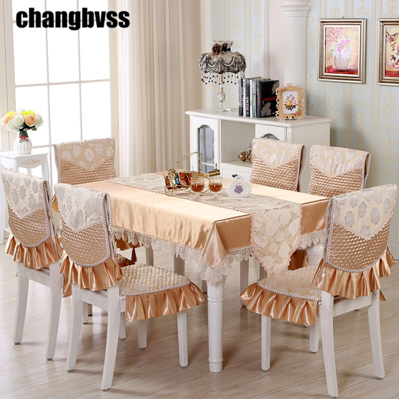 AliExpress & US $68.28 40% OFF|9pcs/set Embroidered Floral Table Cloth with Chair Covers Wedding Decor Tablecloth Rectangular Dining Table Covers Table Cloths-in ...