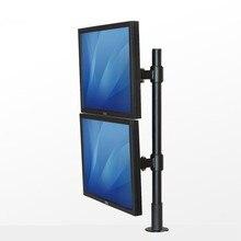 """13-27 """"Dual Screen Titular Monitor de Rotação Completa 2 TV LCD Desktop Grommet Montagem Livre de Elevação Por Meio-buraco Suporte SK013A"""