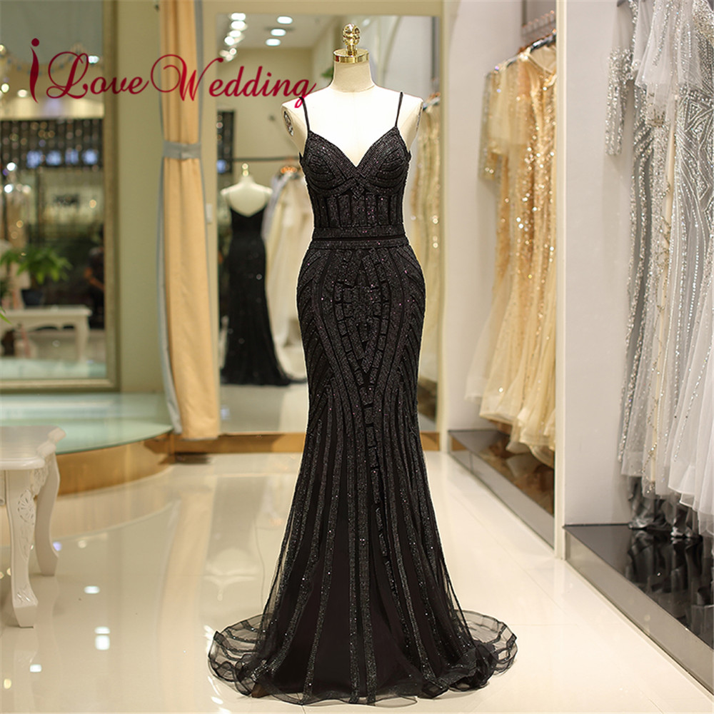 Black Sequin Formal Evening Dress 2019 V Neck Spaghetti Straps Trumpet Vestido de festa longo Sexy