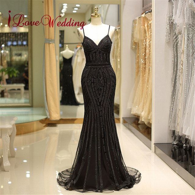 Black Sequin Formal Evening Dress 2018 V Neck Spaghetti Straps Trumpet Vestido de festa longo Evening Party Gowns
