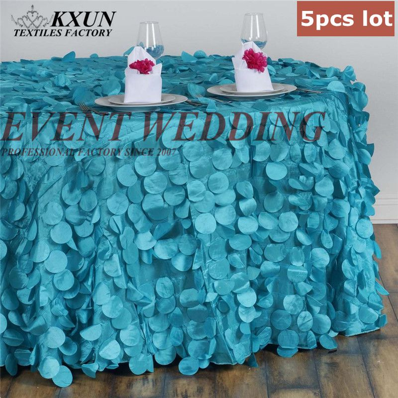 5PCS Taffeta Embroidered Tablecloth Round Rectangle Table Cloth For Wedding Event Decoration