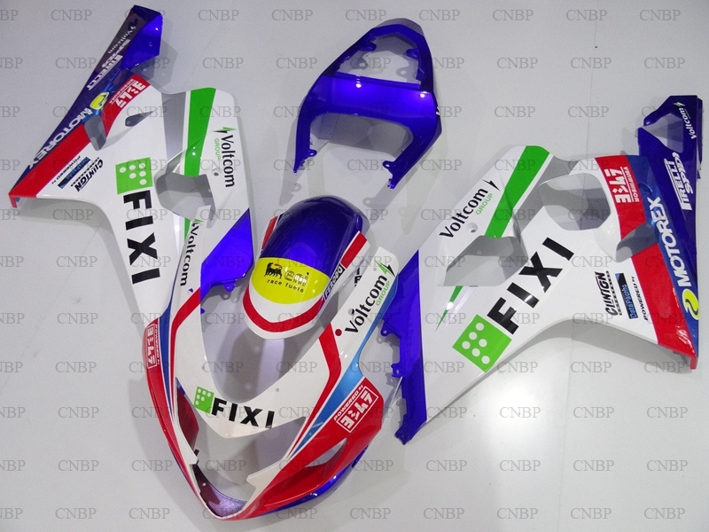 <font><b>GSXR</b></font> <font><b>600</b></font> <font><b>2004</b></font> Fairing Kits GSX R 750 <font><b>2004</b></font> - 2005 K4 White Blue FIXI Plastic Fairings for Suzuki GSXR750 05 Fairing image