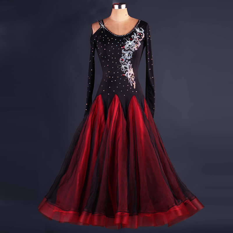 Ballroom dance costumes sexy spandex Long sleeves standard ballroom dress ballroom dance competition dresses tango dress woman