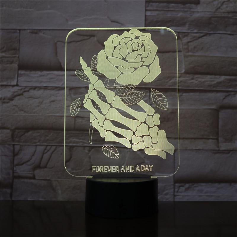 Skull Skeletons Hands Rose Flower 3D LED Night Light Table Desk Optical Illusion Lamps 7 Colors Changing Lights LED Table Lamp