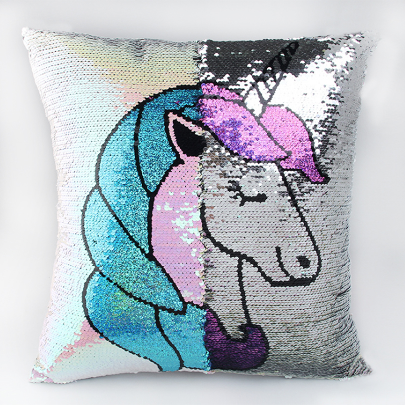 diy unicorn sequin pillowcase mermaid color changing reversible pillow case magical throw pillow. Black Bedroom Furniture Sets. Home Design Ideas