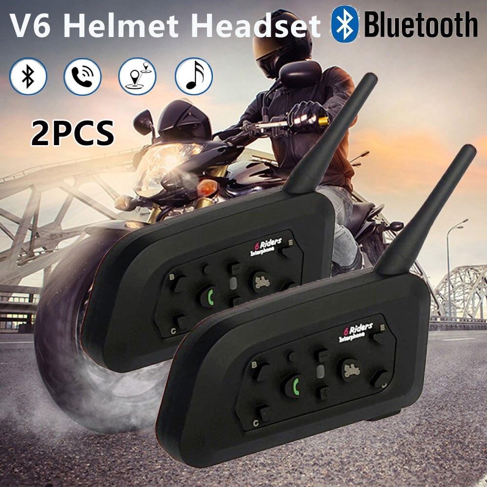 2 uds V6 intercomunicador con Bluetooth, reproductor de música, inalámbrico, manos libres para moto, auriculares, comunicador resistente al agua a la moda para 6 conductores - 4