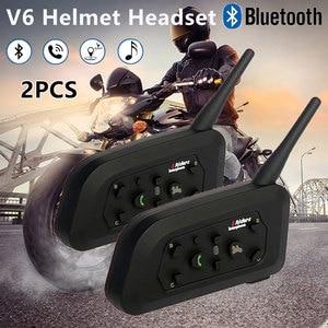 Image 2 - 2PCS V6 Helmet Intercom Bluetooth Music Player Wireless Motorbike Handsfree Headset Fashion Waterproof Communicator for 6 riders