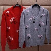100% козья кашемировые женские база дна пуловер свитер жаккарда v образным вырезом коммутирующих Большие размеры S/90 5xl/125