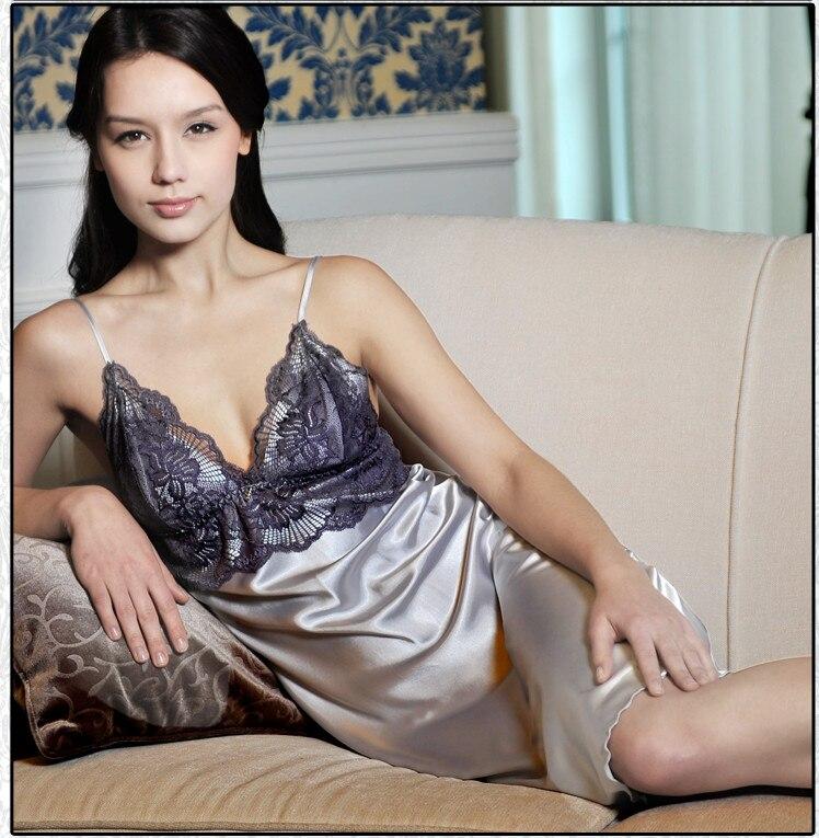 Womens Sexy Lace Nightwear Dress Imitated Silk Sleepwear Robe Lingerie Stock 2018 Hot Sale