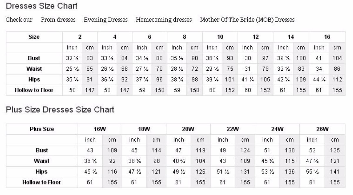 Davids Bridal Bridesmaid Dresses Size Chart