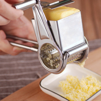 1pcs Stainless Steel 430 Blades Rotary Cheese Grater Stainless Steel Cheese Slicer Shredder Butter Cutter Kitchen Gadgets