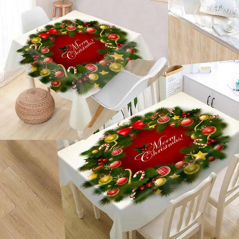 Custom Merry Christmas Tablecloth Santa Claus Square /Rectangular Tablecloth For Wedding Table Cloth TV Covers Tea Tablecloth