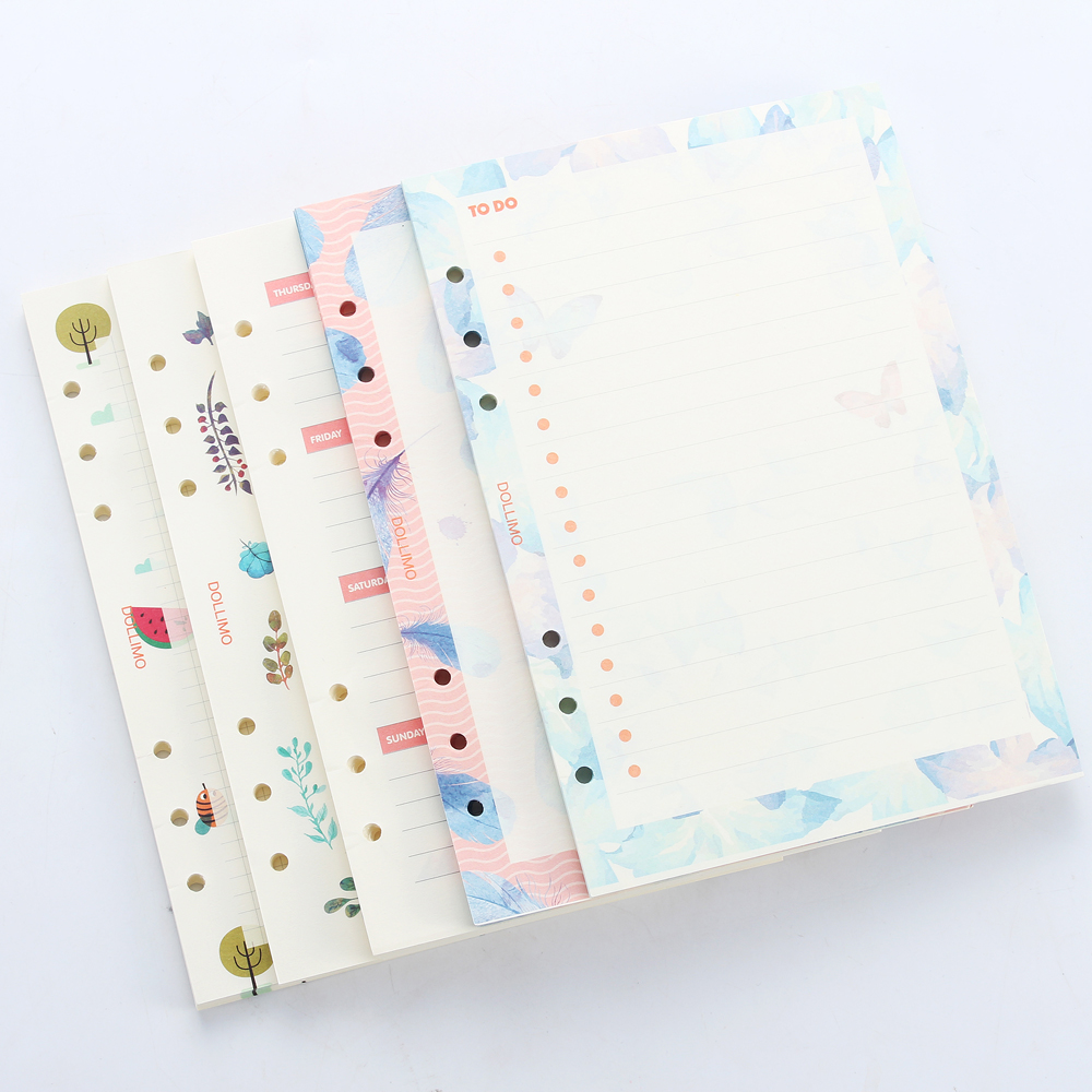 Cute Original Creative Inner Paper Core For Spiral Planner Notebook,cartoon 6 Holes Refiling Inner Paper Stationery,5 Kinds A5A6