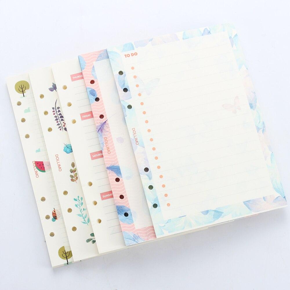Niedliche ursprüngliche kreative inneren papierkern für spirale planer notebook, cartoon 6 löcher refiling inneren schreibwaren, 5 arten A5A6