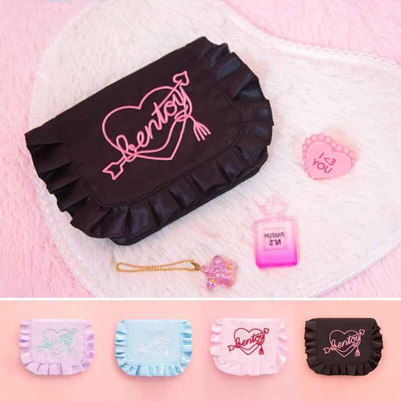 Bentoy Mulheres Bordado Coração Coin Bolsas saco modess saco De Armazenamento Feminino Multi-Função Daliy Meninas Mini Bolsa Pouch