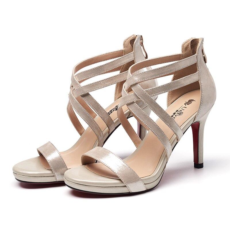 Las Enmayla Tamaño Verano 2019 34 Tacón Básicos black De Zapatos Vestido Hing 39 Cuero Sandalias Ly1017 Beige Genuino Mujeres Cremallera Xq6wXrg