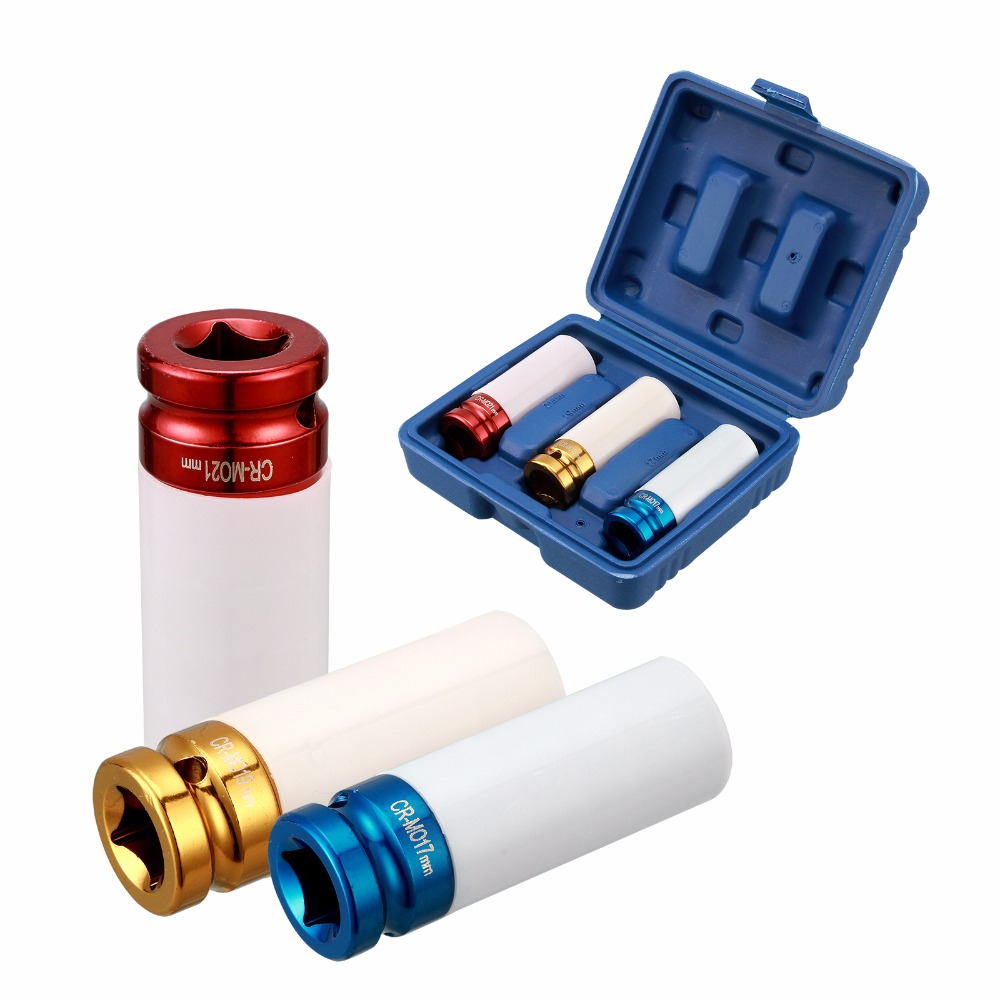 3pc Thin Wall Deep Impact Socket Set Plastic Sleeve Lug Nut 17mm 19mm 21mm cup