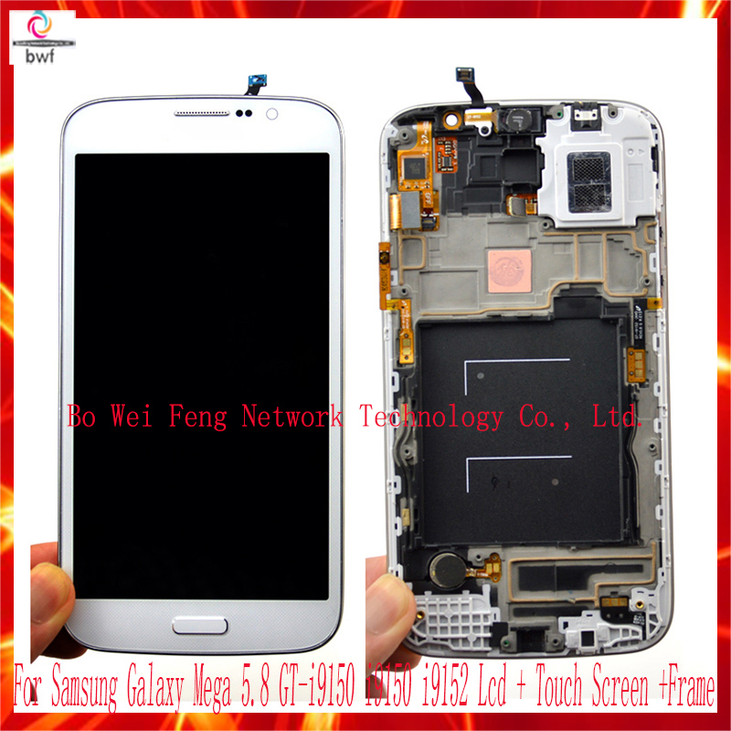 ФОТО Original LCD For Samsung GALAXY Mega 5.8 i9150 I9152 LCD Display Touch Screen Digitizer Assembly With Frame Free Shipping