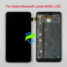 цена на Original Quality For Nokia Microsoft Lumia 640XL 640 XL LCD Display Touch Screen Digitizer Assembly w Frame For NOKIA 640XL LCD