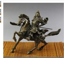 collecting OLD copper decoration bronze Brass Rare Fine Chinese Bronze Statue Guan Gong & Horse NR high quality brass gong 22 chinese traditional wind gong