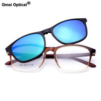 Gmei Optical 1623 Urltra Light TR90 Eyeglasses Frame With Polarized Clip On Sunshades For Women And