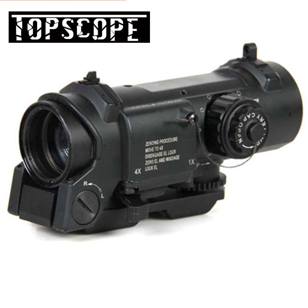 1x-4x Double Rôle de Portée de Fusil Optique Airsoft Portée Magnificate 4x32 Portée Fit 20mm Weaver Picatinny rail Pour La Chasse