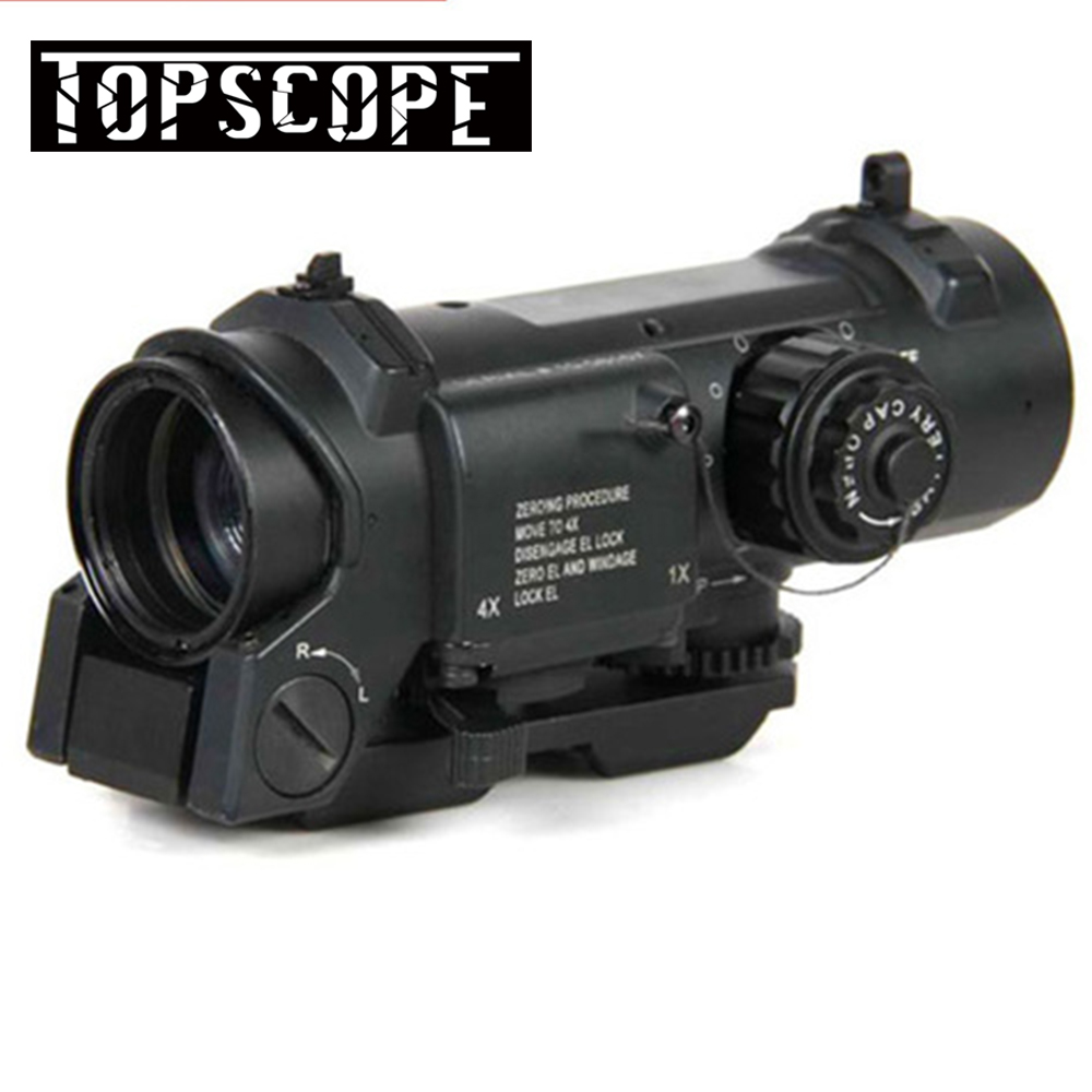 1x- 4x Dual Role Optic Rifle Scope Airsoft Scope Magnificate 4x32 Scope Fit 20mm Weaver Picatinny Rail For Hunting