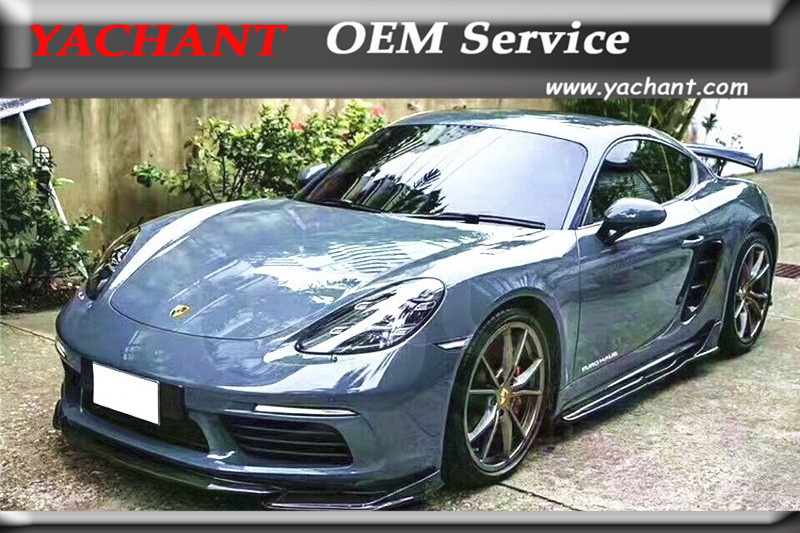 Car-Styling Carbon Fiber Bodykits Fit For 17-18 Cayman <font><b>Boxster</b></font> <font><b>718</b></font> ARMA Speed Style Body Lip Kit Front Lip Skirts Rear Spats Lip image