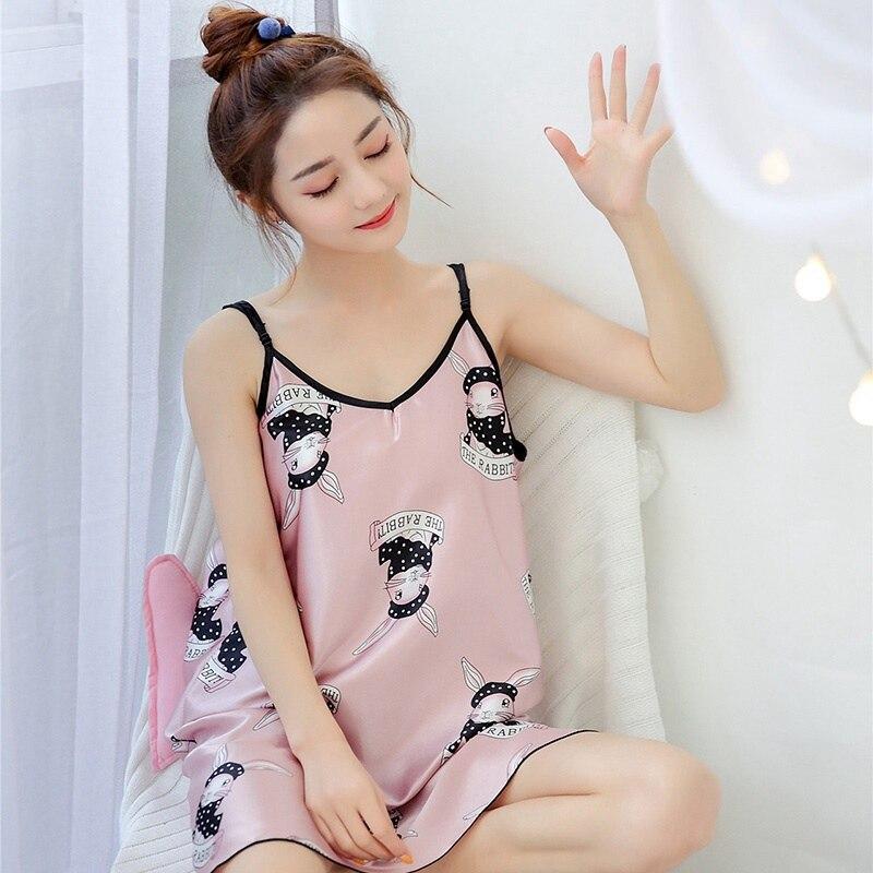 Women Summer Sleep Dress Lovely Cartoon Pattern Printed   Sleepshirt   Nightdress