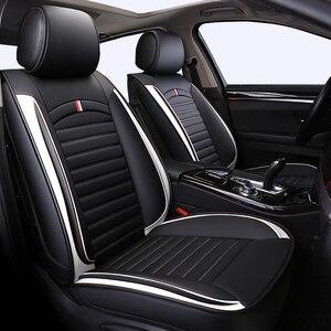 Image 1 - Fundas de asiento delanteras y traseras para coche, de cuero PU, universales, aptas para TOYOTA Corolla RAV4 Highlander PRADO, Yaris Prius Camry Protector para asientos de coche
