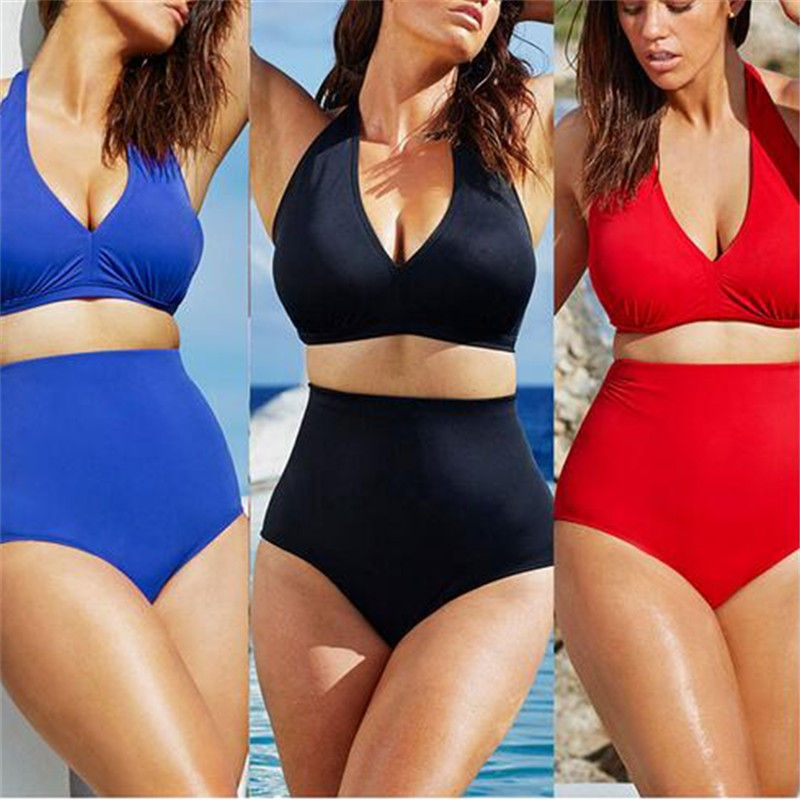Plus Size High Waist Swimwear Bikini Women Solid Color Swimsuit Vintage Retro Bathing Suit SwimSuit Fat Swimwear Black Red Blue