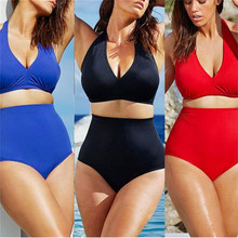 Swimsuit Sexy Large Size Woman Bikini Swimsuit High Waist Solid Color Bikini Set Black Red Blue Swimwear XXXL Plus Size plus size high waist printed bikini set