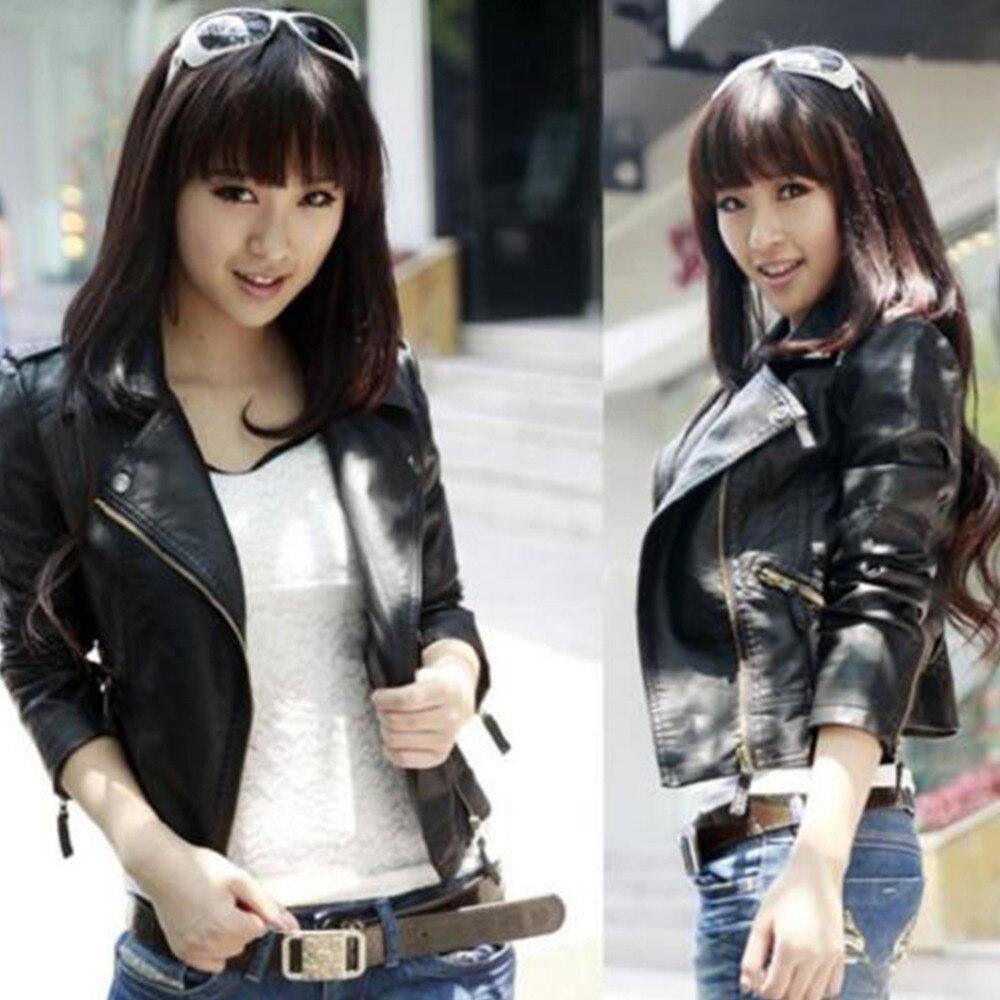 2017 jesienno-kobiet czarny szczupły koreański styl PU faux leather - Ubrania Damskie - Zdjęcie 2