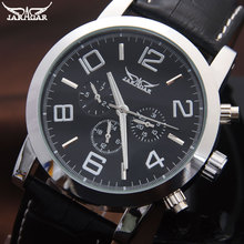 Marca jaragar hombres reloj mecánico automático para hombre vestido de la manera relojes de pulsera negro banda de cuero esfera blanca reloj 24 h auto fecha