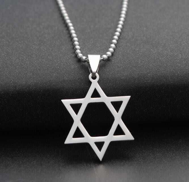 fashion silver color stainless steel Star of David necklace pendant jewish magen david Hexagram necklace for unisex jewelry