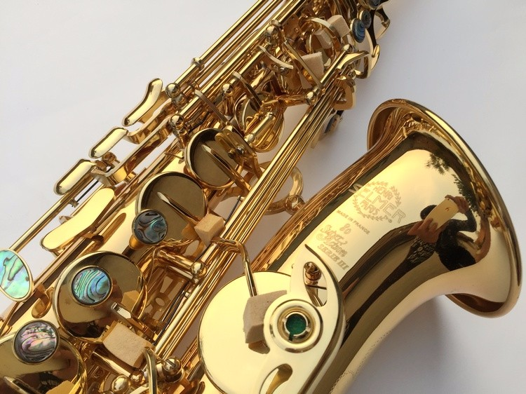 Saxophone Best selling French Henri Selmer Paris Saxophone Alto 802 and flat Sax top musical instrument electrophoresis of gold alto saxophone 54 eb flat alto sax top musical instrument sax wear resistant black nickel plated gold process sax