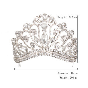 Image 3 - 新しいシルバーゴールドカラー結婚式の女王クラウン高級クリスタルビッグティアラクラウン櫛で花嫁のウェディングブライダルヘッドドレス HG 213